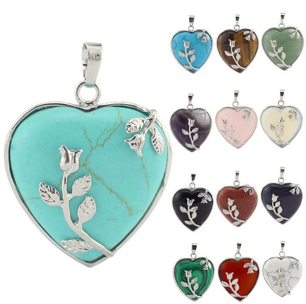 JLN Heart Flower Pendant Semi Precious Stone Lapis Crystal Quartz White Howlite Onyx Turquoise Necklace With 18 Inches Brass Chain