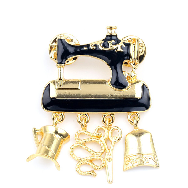 2018 Black Enamel Sewing Machine Brooches for Women Fashion Gold Color Cute Brooch Pin Good Gift Broch
