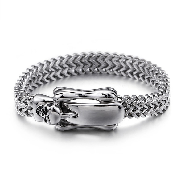 Punk Men's Thick Heavy Classic Skeleton Belt Buckle Stainless Steel Bracelet High Polished Double Layers Weaving Bangle