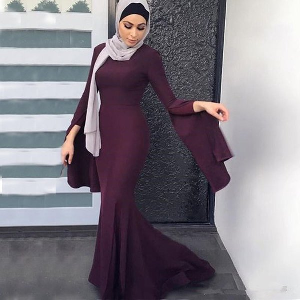 2018 Dark burgundy Grape tumpet Long Evening Dresses Elegant Muslim Dresses Vestidos Jewel Neck Flare long Sleeves Mermaid Fitted Prom Gowns