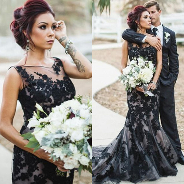 Appliques Black Lace Wedding Gown Mermaid Sheer Neck Tulle Gothic Wedding Dresses 2019 Vestidos De Novia Tallas Grandes Bruidsjurken