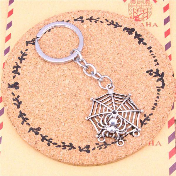 Keychain spider cobweb halloween connector Pendants DIY Men Jewelry Car Key Chain Ring Holder Souvenir For Gift