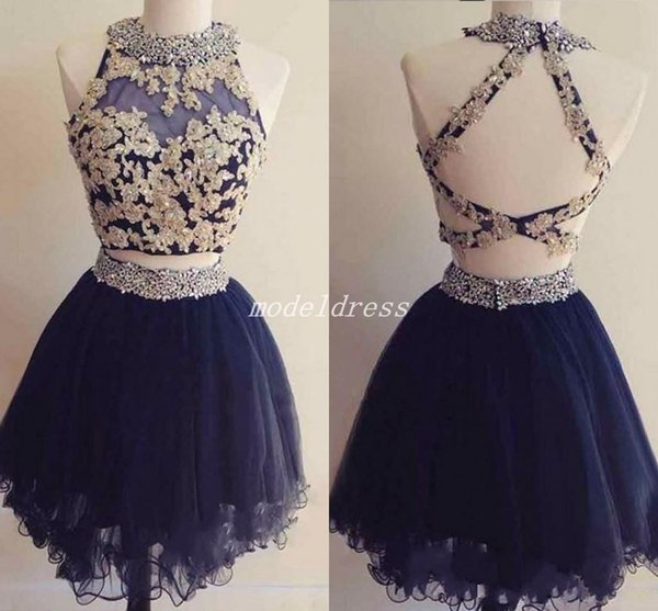 Dark Navy Short Two Pieces Homecoming Dresses 2018 Jewel Backless Gold Appliques Beaded Mini Prom Cocktail Party Gowns vestidos de cóctel