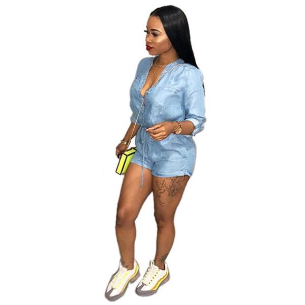wholesale 2018 New Women's Playsuits Casual Long Sleeve Denim Jeans Shorts Romper Slim Fit Jumpsuit Summer Plus Size Blue Hot