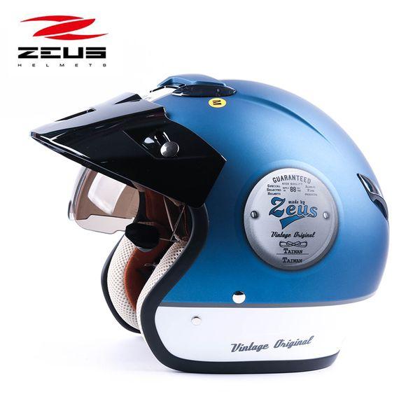 ZEUS 382 rosto aberto 3/4 motocicleta motorcross Casco e capacete, scooter capacete Vintage retro capacete de segurança da motocicleta