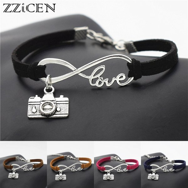 Fashion Vintage Photograph Lover Antique Silver Camera Charms Pendant Infinity Love Leather Bracelets Gifts for Camera Jewelry