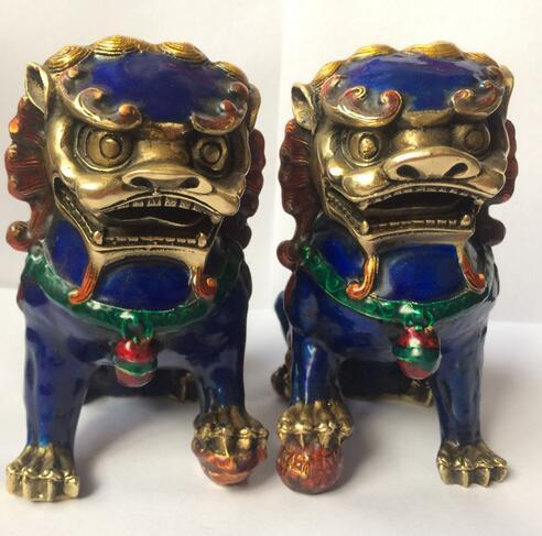 A Pair Chinese Cloisonne Copper Statue - Lion Foo Dog Home decoration gifts Metal crafts
