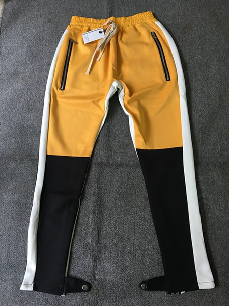 top popular Wholesale 2018 Spring And Autumn Streetwear Fog Pants Side Zipper Color Matching Trousers Men's Designer Mens Joggers Fear Of God Pants 2019