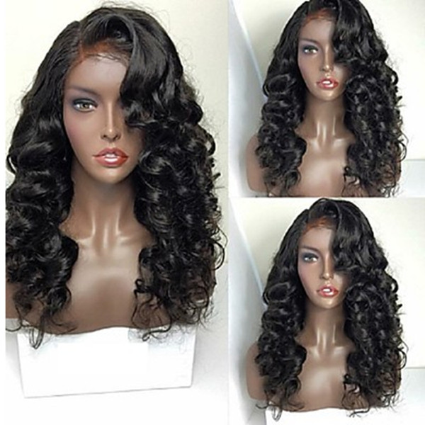 Fashion Heat Resistant 150% Density 1b# 6# Black Brown Deep Wave Wigs with Side Bangs Glueless Synthetic Lace Front Wigs for Black Women