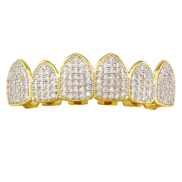 Yiwu factory direct hot new selfdesign gold Grillz diamond crystal hip-hop body jewelry teeth tooth hip-hop Dental Grills free shipping