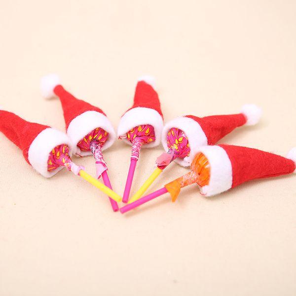 500PCS Mini Christmas Santa Claus Hat Xmas Lollipop Wrap Hat Wedding Candy Gift Creative Caps W4*H7cm Christmas Tree Ornament Decor