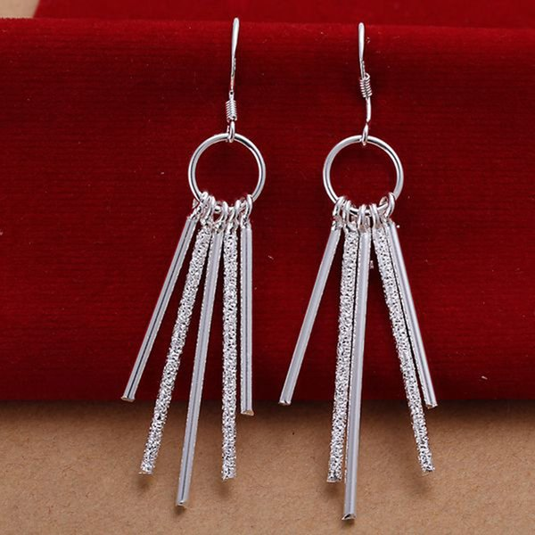 Fine 925 Sterling Silver Earring for Women XMAS Fashion 925 Silver Five Post Round Hoop Dangle Stud Earring Link Italy XMAS Gift AE26