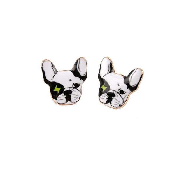 New Fashion Designed Puppy 3d Dog Head Stud Earrings Beautiful Enamel Oil Dog Earrings for Girls Gift jl-414