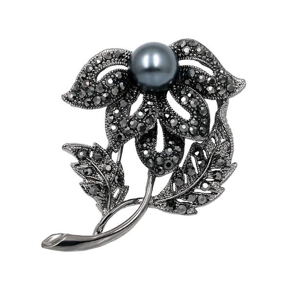 baiduqiandu  Black Color Rhinestone Floral Leaf Brooches for Women Vintage Fashion Brooch Jewelry Accessories Gifts
