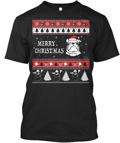 Merry Christmas Pug Face! - Standard Unisex T-shirt Printed T Shirts Short Sleeve Hipster Tee Cool O - Neck Tops