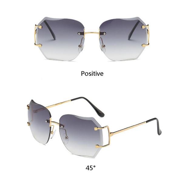 2018 Fashion star style mode sonnenbrille gradient frauen randlose sonnenbrille vintage big Frame frosch sonnenbrille 27 stücke