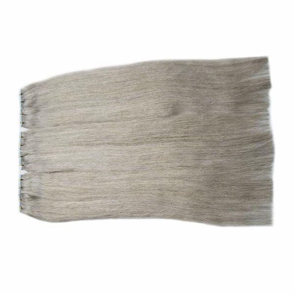 Cinza de prata Brasileiro Virgem Extensões de Cabelo Humano 300g Fita Adesiva Para Extensões de Cabelo 120 pc Trama Da Pele Sem Costura Cinza Extensões Da Fita