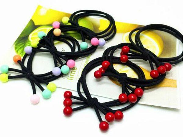 Accesorios para el cabello coreano caliente Tocado Red Cherry Head String Red Bean Rubber Band Red Beads D0334