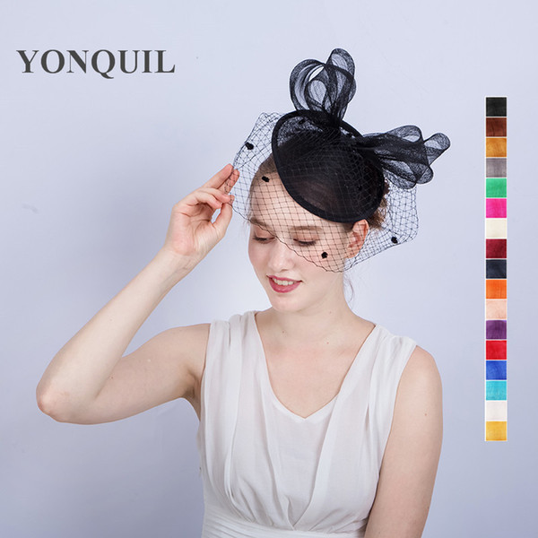 NEW ARRIVAL 17 colors Elegant Wedding Cocktail Hats For Women nice big bowknot Design Banquets Ladies Summer Occasion Event Race