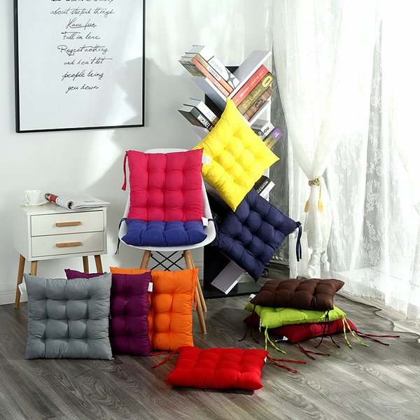 Solid Color Thickening Chair Mat Office Students Cushion Four Seasons Chair Pad