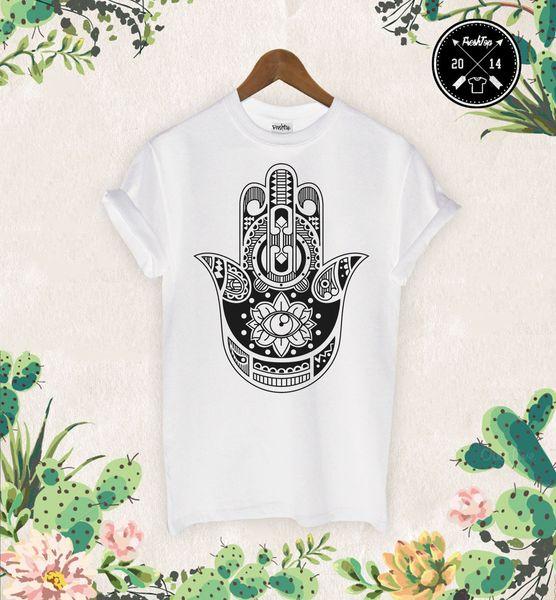 Hamsa Hand T Shirt Boho Kitsch Khamsa Defend Evil Eye Jewellery Tumbrl Zoella High Quality Cotton Hip Hop Short Sleeve