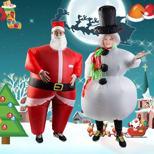 NOUVELLE Arrivée CHAUDE Père Noël Bonhomme De Neige Costume Gonflable Costume De Fête De Noël Vêtements Xmas Barbe Chapeau