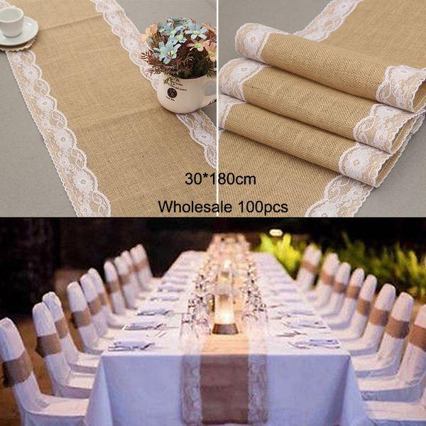 Wedding Table Runners Wholesale Vintage Natural Linen Burlap Jute Lace Table Runner 30cmx180cm Morden Tafelloper White Table Cloth White Table Cloths