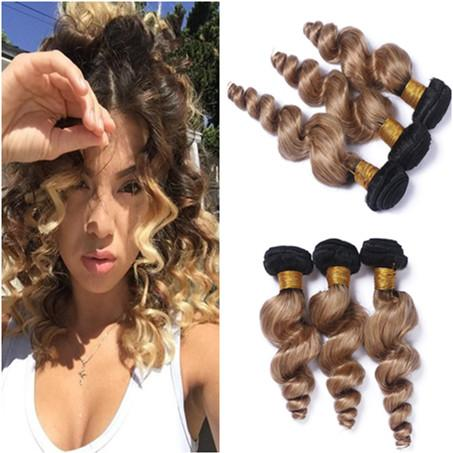 Malaysian Honey Blonde Ombre Human Hair Bundles Dark Root 3Pcs Loose Wave #1B/27 Light Brown Ombre Virgin Human Hair Weaves Double Wefts