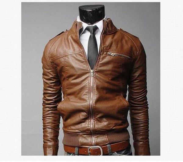 Autumn Winter Classic Men Biker Jackets Coats With Zipper Stand Collar Outdoor Windproof Coats Thicken Slim Fit Leather Jackets