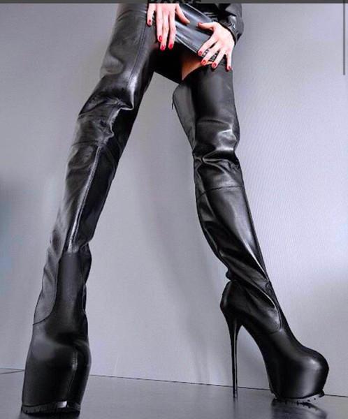Acheter Luxe Haute Femme Bottes Bottines Glissière Talon Hiver Cuir Fermeture Dessus Du À Cuisse Chaussures Haut Au Genou Pluie Noir Plateforme qSMVpGjLUz