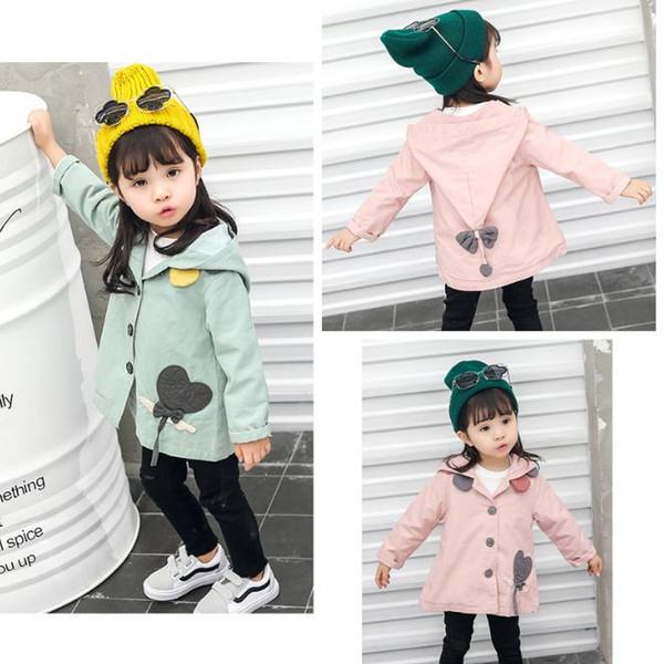 Bebek Kız ceket çocuk giyim kız trençkot çocuklar ceket kapüşonlu kız mont Bahar Sonbahar Bebek Kız Hoodies Kabanlar