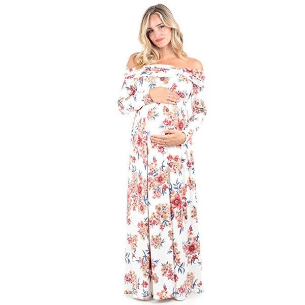 Schwangere Kleidung Full Printing Off Schulter Langarm Bodenlangen Maxi Casual Cotton Frauen Mutterschaft Kleider