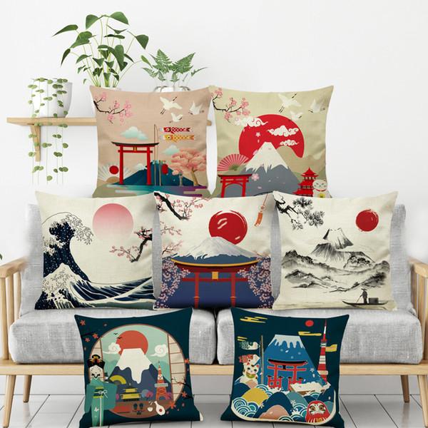 Decor Linen Japanese Fuji Mountain Ukiyo Style Retro Pillow Cover Cushion  Cover For Sofa Home Decoration Pillowcase 45x45cm Replacement Cushions ...