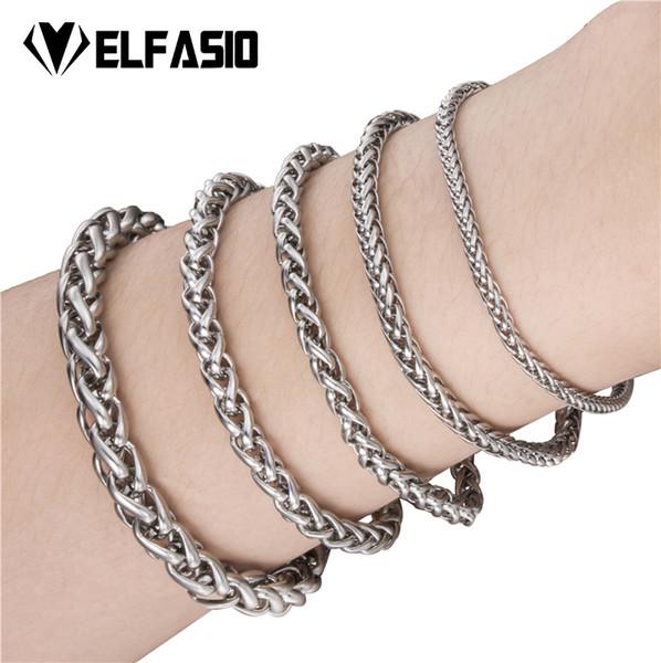 Elfasio 18cm 20cm 23cm Mens Bracelet Silver Color Wheat Chain Stainless Steel Bracelet for Women Men's Jewelry