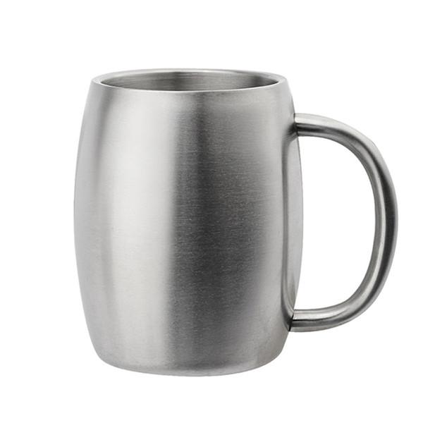 Tazas de la taza de la cerveza del acero inoxidable tazas de la leche del café 420ml con la manija taza de cerveza del vino del partido de la barra de la pared doble