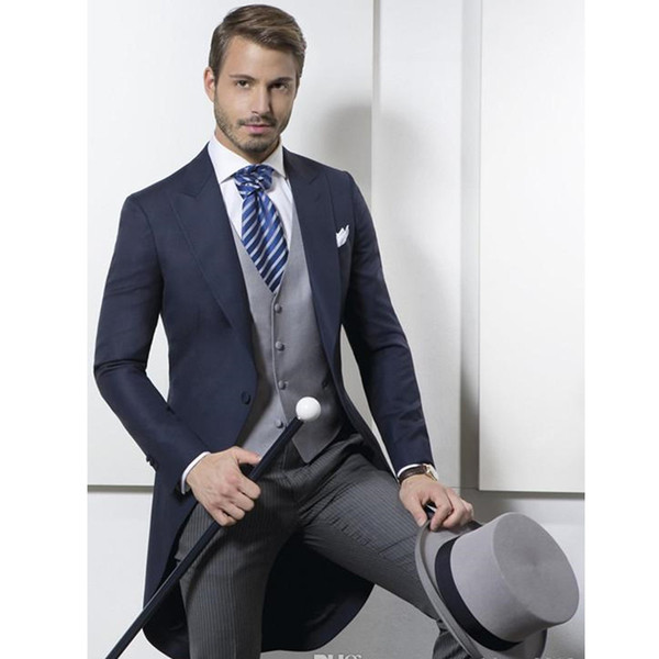 Custom Made New Classic Design Navy Blue Tailcoat Groom Tuxedos Men's Wedding Dress Prom Clothing (Jacket+Pants+Vest)