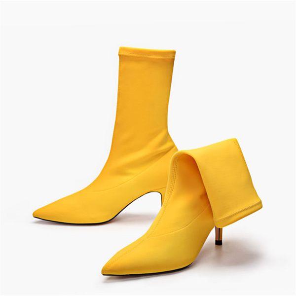 Natürlich Frauen Plattform Gelb Socke Stiefel Weiß Gummi