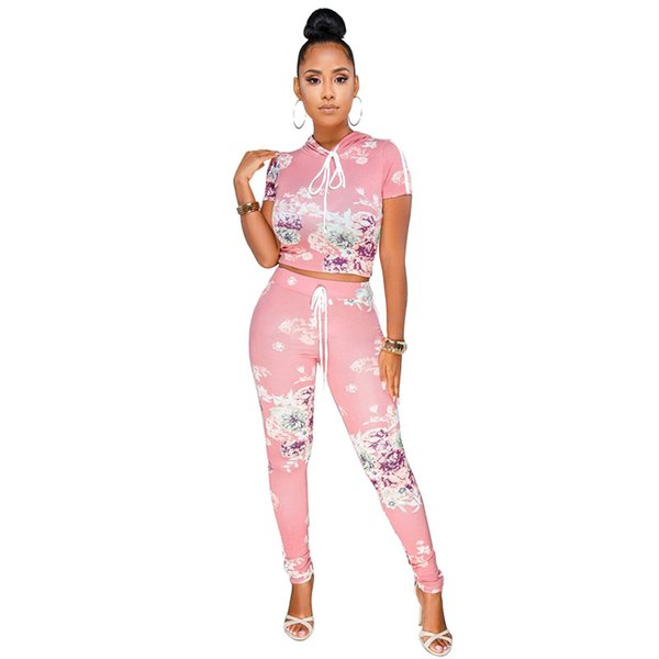 Women Tracksuit Flower Print Two Piece Set Summer Outfits Casual Sexy Hooded Tops Bodycon Pants Set 2 Piece
