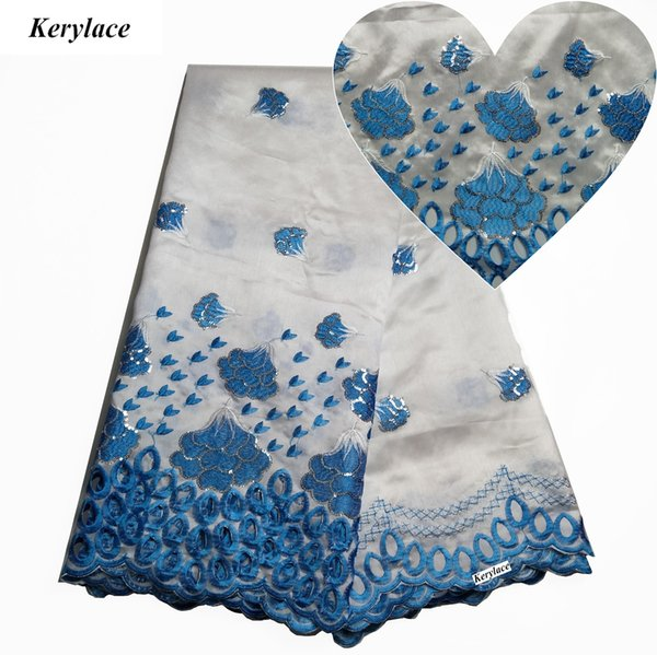 KERYLACE White Red High Quality Nigeria George Lace New Silk African Fabric French Design Embroidered Sequins Fabric Women Wedding Dresses