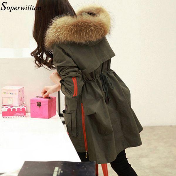 Soperwillton 2018 Parka Winter Jackets Women 100% Real Raccoon Fur Collar Long Army Green Coat Hooded Outerwear Plus Size S2 S18101505