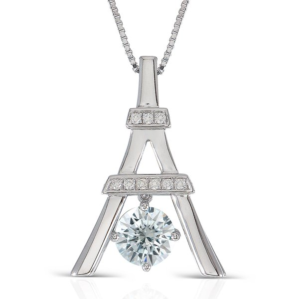 Transgems 1.16CTW Center 6.5mm Round Brilliant Cut Moissanite Pendant Necklace with Accents Platinum Plated Silver