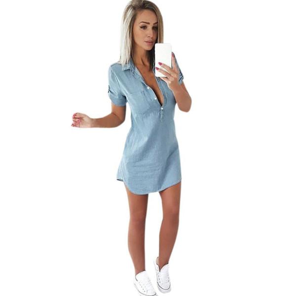 Women Blue Denim Dress Short Sleeve Pocket Buttons Casual Dress Solid Turn Down Collar Summer Mini Dress #BF