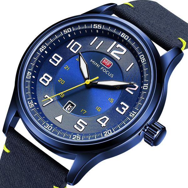 MINIFOCUS Fashion Nylon Strap Quartz Wrist Watch Casual Mens Watches Army Military Sports Green Black Clock For Male MF0166G
