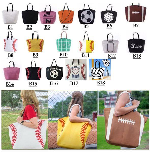 top popular 18 styles Canvas Bag Baseball Tote Sports Bags Softball Bag Football Soccer Basketball Cotton Canvas Tote Bag GGA189 20pcs 2019