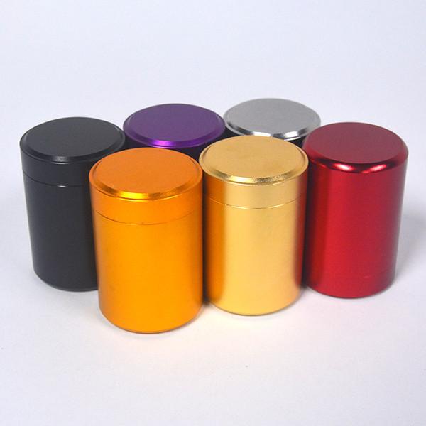 Portátil Caixa De Lata De Chá Mini Metal Canister Caixas De Armazenamento De Doces Rodada Coluna Carry Case Selado Jar Cozinha Ferramenta Cor Pura 5sy bb