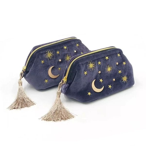 Large lovely cosmetics bag embroidery star and moon velvet tassel makeup zipper pouch brushes organizer storage blue pink