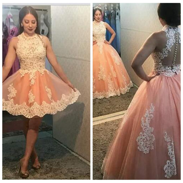 Blush Pink Sweet 16 Quinceanera Dresses Ball Gown 2 In 1 Jewel Neck  Sleeveless Lace Applique Tulle Plus Size Dresses Saudi Arabic Prom Dress ...