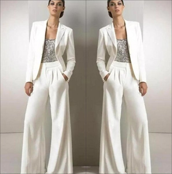 White Long Sleeves Sequined Formal Party Mother of the Bride Pant Suits With Jacket Three Pieces Mother of Groom Pant Suit BA9205