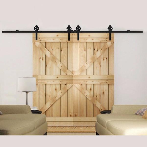 best selling Antique Big Spoke Wheels Sliding Barn Door Hardware 8ft-16ft Sliding Wood Door Hardware for Double Doors