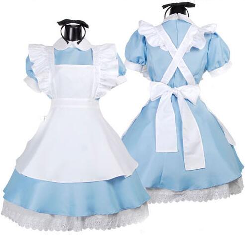 Japonca En Çok Satan Fantezi Kızlar Alice In Wonderland Fantasy Mavi Işık Ton Lolita Hizmetçi Kıyafet Hizmetçi Kostüm Hizmetçi Elbise BY0401